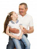 foto of grandfather  - Grandfather and grandchildren portrait studio shoot - JPG