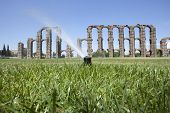 picture of aqueduct  - Grass Sprinklers wtih Roman Aqueduct of Merida at the bottom. Extremadura Spain