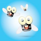stock photo of googly-eyes  - cartoon cute bright fly insect with big googly eyes and a protruding proboscis - JPG