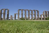 stock photo of aqueduct  - Roman Aqueduct of Merida Los Milagros - JPG