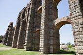 stock photo of aqueduct  - Roman Aqueduct of Merida Los Milagros - JPG