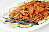image of chinese parsley  - delicious chinese food on plate close up - JPG