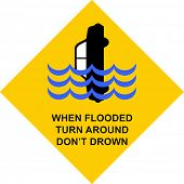 picture of flood  - Yellow traffic sign with warning  - JPG