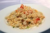 stock photo of scrambled eggs  - Chinese rice with shrimps with egg scramble - JPG