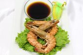 foto of soy sauce  - Delicious shrimp served with soy sauce - JPG