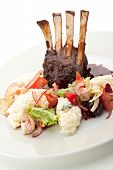 picture of lamb chops  - Roasted Lamb Chops with Risotto and Vegetables - JPG