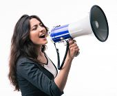picture of screaming  - Businesswoman screaming in megaphone isolated on a white background - JPG