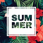 picture of hawaiian flower  - Summer colorful hawaiian flyer design with tropical plants and hibiscus flowers - JPG