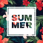 foto of hawaiian flower  - Summer colorful hawaiian flyer or banner design with tropical plants and hibiscus flowers - JPG