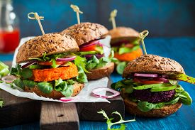 picture of veggie burger  - Veggie beet and carrot burgers with avocado - JPG