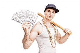 image of bat  - Thug with gold chain around his neck holding a baseball bat and a stack of money isolated on white background - JPG