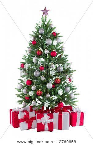 Постер, плакат: Рождественская елочка с красочными огнями и украшения , холст на подрамнике