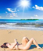 stock photo of nudist beach  - Nudist Beach Posing - JPG