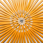 Thick pencils are arranged in a circle.