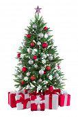 Постер, плакат: Рождественская елочка с красочными огнями и украшения