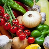 Fresh Vegetables, Fruits and other foodstuffs. Background.