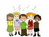 Kids Singing - Vector