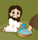 Jesus washing Feet - Vector