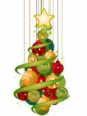 Christmas Tree Design (Baubles) - Vector