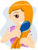 Teenager Brushing Hair - Vector