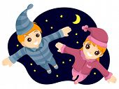 Flying Kids in PJs - Vector