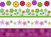 Floral Border Set - Vector