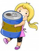 Girl with Can of Drink - Vector