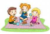 image of playmates  - Children eating Cake in the Park  - JPG