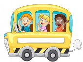 Children in School Bus - Vector