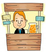 Businessman on Lemonade Stand - Vector