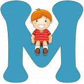 Illustration of a Little Boy Sitting on a Letter M