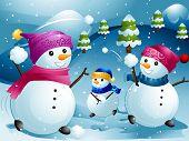 Illustration of Snowmen Having a Snowball Fight