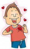 Illustration of a Lovestruck Man Flashing a Big Smile