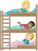 Ilustración de niños en un campamento de compartir historias uno con el otro