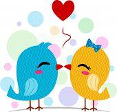 Illustration of a Pair of Lovebirds Kissing
