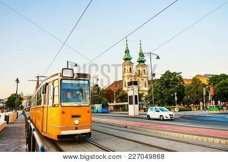 Budapest Hungary Yellow Tram Moving