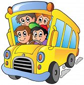 School bus with happy children - vector illustration.