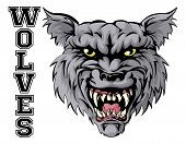 An Illustration Of A Wolf Sports Mascot Head With The Word Wolves poster