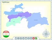 Tajikistan Map with Flag Buttons and Assistance & Activates Icons Original Illustration