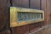 Old Wooden Door With Mailbox, Close Up poster