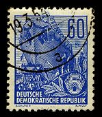 GERMANY-CIRCA 1953:A stamp printed in GERMANY shows image of Slipway (from the NL. Stapel) - Facilit