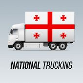 Symbol Of National Delivery Truck With Flag Of Georgia. National Trucking Icon And Georgian Flag poster