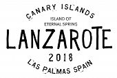 Lanzarote Typographic Stamp. Typographic Sign, Badge Or Logo poster