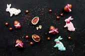 Easter Candy. Traditional Easter Signs And Symbols. Chocolate Easter Eggs And Easter Bunny Cookies.  poster
