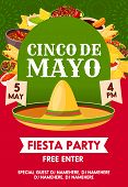 Cinco De Mayo Mexican Holiday Sombrero With Festive Food Invitation Banner For Fiesta Party Template poster