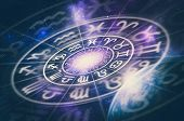 Astrological Zodiac Signs Inside Of Horoscope Circle On Universe Background - Astrology And Horoscop poster