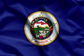 Fabric Texture Of The Minnesota Flag Background - Flags From The Usa poster