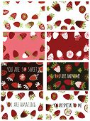 Strawberry Hand Drawn Color Illustration For Your Design, Set Of Backgrounds And Compliments. You Ar poster