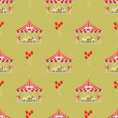 Circus Tent Marquee With Stripes And Flags Carnival Seamless Pattern Entertainment Amusement Element poster