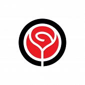 Red Vector Rose Flower Emblem. Simple Rose Logo Template, Clean And Simple Logo Template. Available  poster